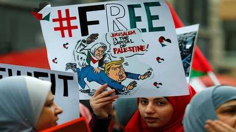 احتجاجات في فرانكفورت ضد قرار ترامب الاعتراف بالقدس عاصمة لإسرائيل، ألمانيا، 16 ديسمبر 2017