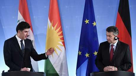 وزير الخارجية الألماني زيغمار غابريل ورئيس وزراء إقليم كردستان نجيرفان بارزاني، برلين