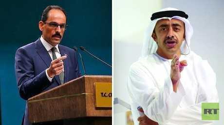المتحدث باسم الرئاسة التركية، إبراهيم قالن، ووزير خارجية الإمارات، عبد الله بن زايد آل نهيان