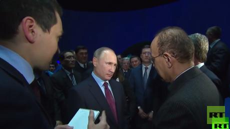 """الرئيس الروسي فلاديمير بوتين مع وزير الطاقة السعودي خالد الفالح خلال تدشين مشروع """"يامال للغاز الطبيعي المسال"""""""