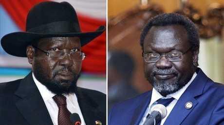 رئيس جنوب السودان سلفاكير ميارديت (يسار) ونائبه رياك مشار (يمين)