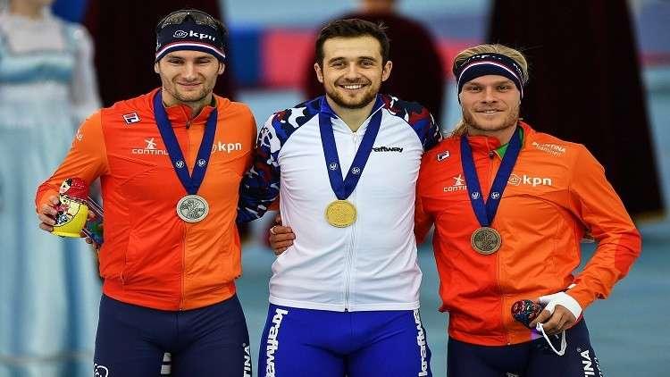 روسيا تتوّج بذهبية سباق 1500 م في بطولة أوروبا للتزلج السريع