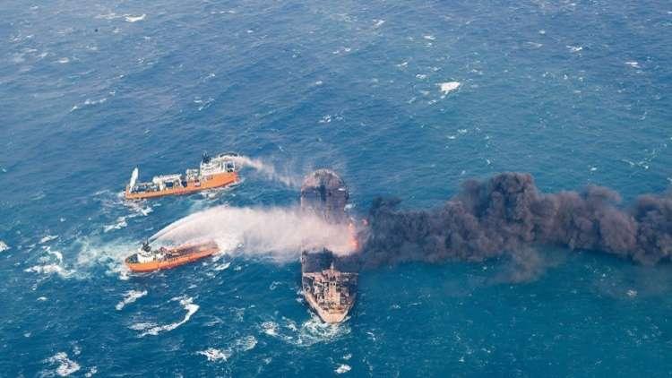 السفينة الإيرانية المحترقة تدخل المنطقة الاقتصادية اليابانية