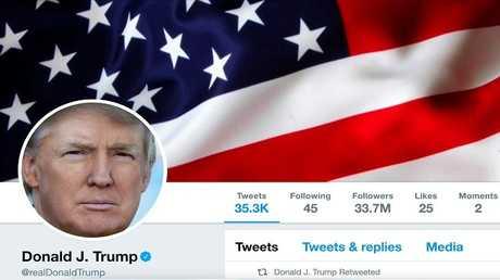 الحساب الرسمي لرئيس الولايات المتحدة دونالد ترامب في موقع تويتر