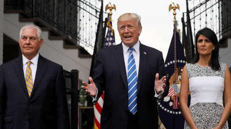 نيكي هايلي ودونالد ترامب وريكس تيلرسون