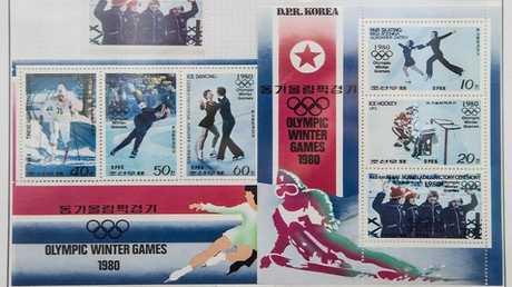 مجموعة طوابع بريدية تستعرض تاريخ مشاركة كوريا الشمالية في دورة الألعاب الأولمبية الشتوية عام 1980