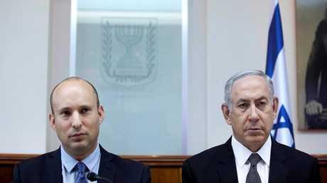 """رئيس الوزراء الإسرائيلي، بنيامين نتنياه، ورئيس حزب """"البيت اليهودي""""، نفتالي بينيت"""