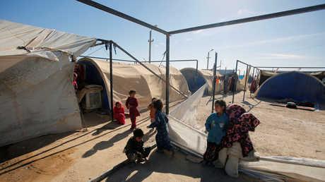 أطفال نازحون في مخيم عامرية الفلوجة (يناير 2018)