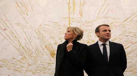 الرئيس الفرنسي إيمانويل ماكرون وزوجته بريجيت ماكرون، بكين 9 يناير 2018