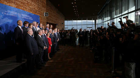 صورة لوزراء خارجية الدول المشاركة في اجتماع بحث الأمن والاستقرار في شبه الجزيرة الكورية، فانكوفر، كندا، 16 يناير 2018