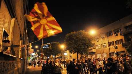 صورة ارشيفية لمسيرة وسط مدينة سكوبي عاصمة مقدونيا