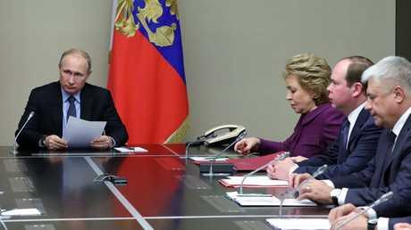 اجتماع فلاديمير بوتين مع الأعضاء الدائمين في مجلس الأمن الروسي