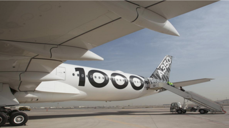طائرة إيرباص إيه 350-1000 في مطار الدوحة الدولي بصورة التقطت يوم السبت