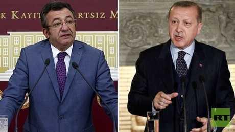 """الرئيس التركي، رجب طيب أردوغان، وعضو """"حزب الشعب الجمهوري"""" التركي المعارض، أنجين ألتاي"""