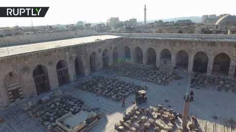 تصوير جوي يوثق أعمال ترميم الجامع الأموي الكبير في حلب