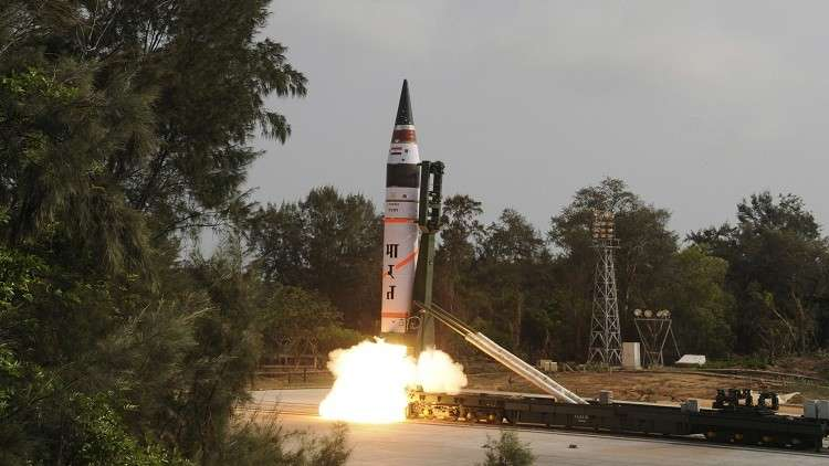 تجربة ناجحة لصاروخ هندي قادر على حمل رأس نووية