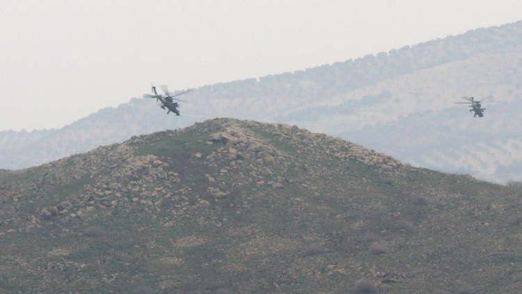 لحظة تحطم المروحية التركية المشاركة في عملية