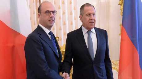 لقاء وزير الخارجية الروسي سيرغي لافروف مع نظيره الإيطالي انجيلينو ألفانو