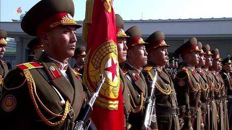 صورة للعرض العسكري في بيونغ يانغ اليوم، 8 فبراير/شباط 2018
