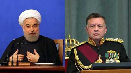 العاهل الأردني، الملك عبدالله الثاني، والرئيس الإيراني، حسن روحاني