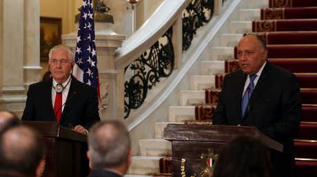 وزير الخارجية الأمريكي ريكس تيلرسون يجتمع مع نظيره المصري سامح شكري في القاهرة، 12 فبراير/شباط 2018