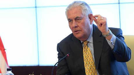 وزير الخارجية الأمريكي، ريكس تيلرسون، خلال اجتماع لوزراء خارجية بعض الدول الأعضاء في التحالف الدولي ضد