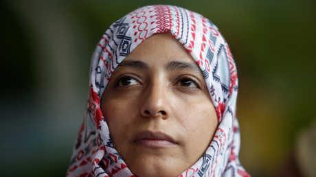 توكل كرمان، الناشطة اليمنية في مجال حقوق الإنسان الحائزة على جائزة نوبل للسلام