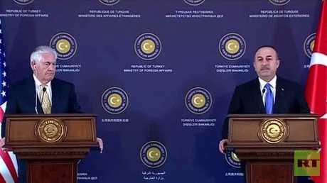 مؤتمر صحفي لوزير الخارجية التركي مولود جاويش أوغلو ونظيره الأمريكي ريكس تيلرسون