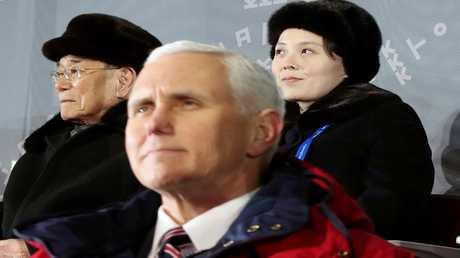 مايك بينس  نائب الرئيسي الأمريكي  كيم يو جونغ شقيقة الزعيم الكوري الشمالي والرئيس الشرفي للدولة كيم يونغ نام