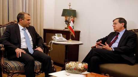 وزير الخارجية اللبناني جبران باسيل والوسيط الأمريكي ساترفيلد