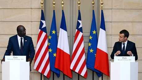 المؤتمر الصحفي للرئيسين الفرنسي إيمانويل ماكرون والليبيري جورج ويا