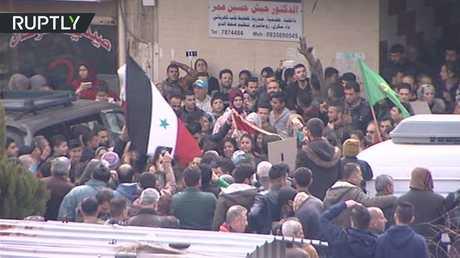 مظاهرات تأييدا لبشار الأسد في وسط عفرين