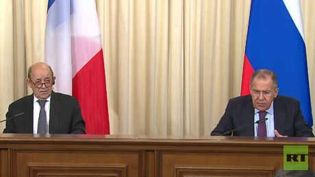 مؤتمر صحفي لوزيري الخارجية الروسي والفرنسي