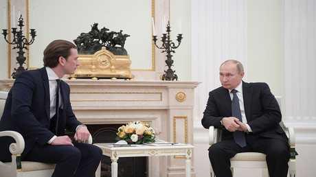 مباحثات بين الرئيس الروسي فلاديمير بوتين ومستشار النمسا سيباستيان كورتس