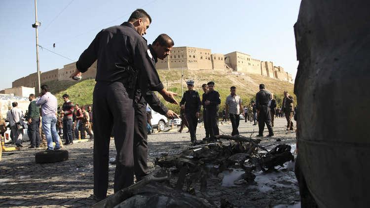 بالصور.. انفجار سيارة وسط أربيل يستهدف معارضا إيرانيا