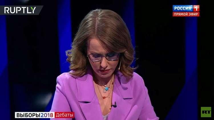 مرشحة الرئاسة الروسية تبكي أثناء مناظرة تلفزيونية