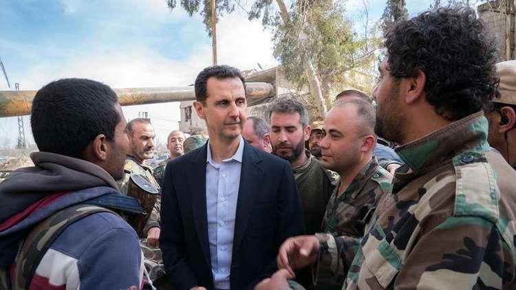 الرئيس السوري يزور جبهات القتال في الغوطة الشرقية