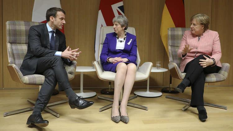 زعماء بريطانيا وألمانيا وفرنسا يجتمعون على هامش قمة بروكسل