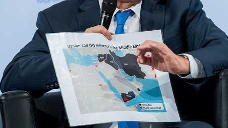 خارطة الشرق الأوسط التي عرضها رئيس الوزراء الإسرائيلي بنيامين نتنياهو خلال مؤتمر ميونخ للأمن (صورة من الأرشيف)