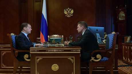لقاء رئيس الوزراء الروسي دميتري مدفديف مع رئيس شركة