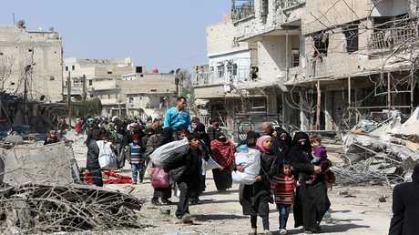إجلاء المدنيين السوريين من بلدة جسرين في غوطة دمشق الشرقية، 17 مارس 2018