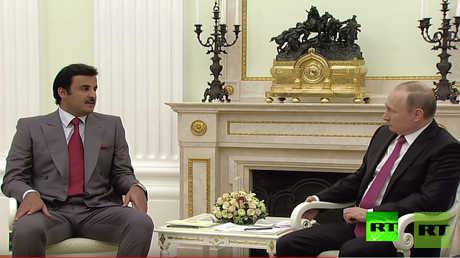 الرئيس الروسي فلاديمير بوتين وأمير قطر تميم بن حمد آل ثاني