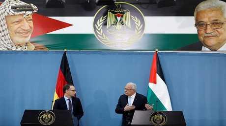 وزير الخارجية الألماني هايكو ماس خلال مؤتمر صحافي مع وزير الخارجية الفلسطيني رياض المالكي في رام الله
