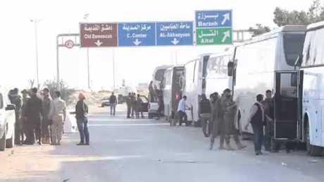 آخر دفعة لمسلحي فيلق الرحمن تترك الغوطة