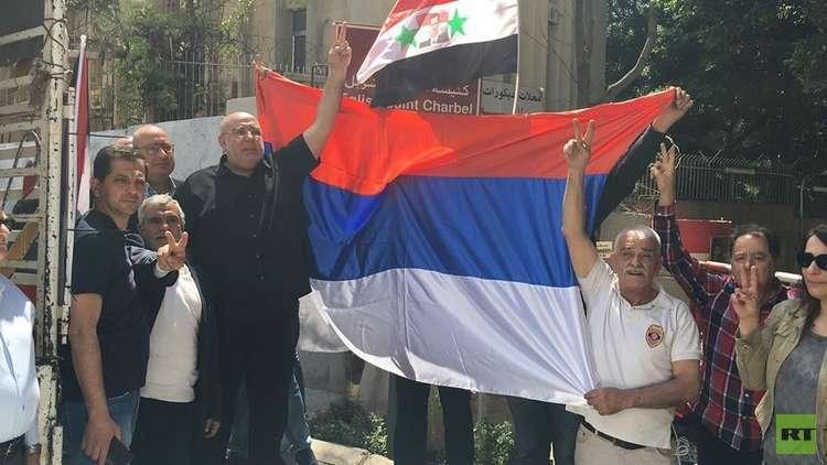 مسيرة سيارة في بيروت دعما لسوريا وشكرا لروسيا