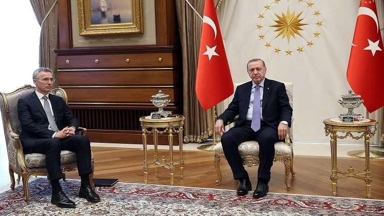 أردوغان يبحث الضربة الثلاثية على سوريا مع ميركل وستولتنبرغ