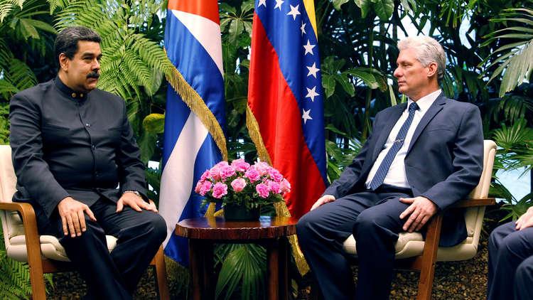 لقاء رئيس كوبا ميغيل دياز كانيل ورئيس فنزويلا نيكولاس مادورو، هافانا، كوبا، 21 أبريل 2018