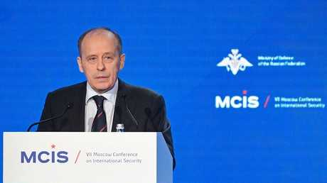 مدير جهاز الأمن الفيدرالي الروسي ألكسندر بورتنيكوف يلقي كلمته في مؤتمر موسكو للأمن الدولي، 04/04/2018