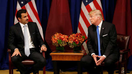 أمير قطر، الشيخ تميم بن حمد آل ثاني، يلتقي الرئيس الأمريكي، دونالد ترامب، بنيويورك .
