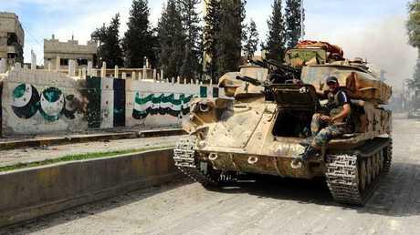 دبابة الجيش السوري في الغوطة الشرقية